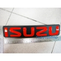 LOGO  ISUZU ตัวอักษรแดง พื้นดำ โลโก้ติดหน้ากระจัง isuzu d-max  ของแท้เบิกศูนย์